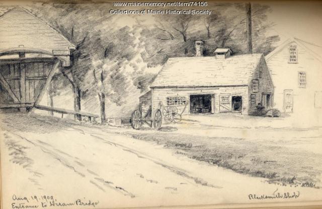 Hiram Bridge pencil drawing, 1909