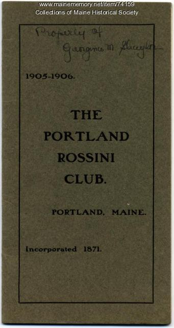Portland Rossini Club pamphlet, 1905