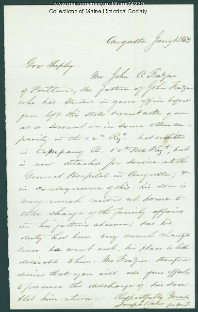 Letter seeking release of soldier from duty, Augusta, 1863
