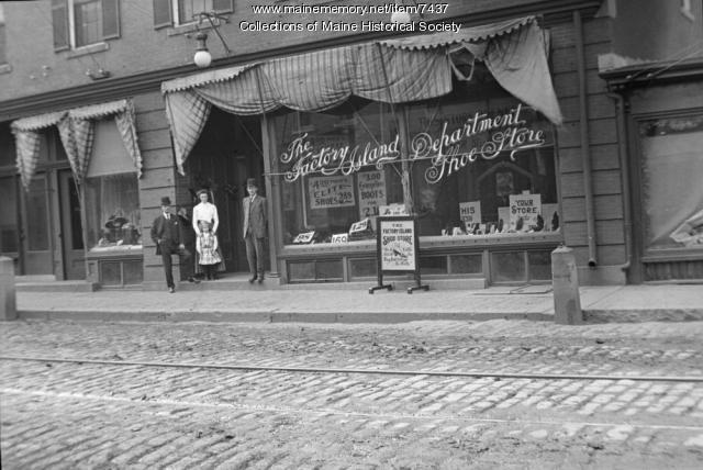 Factory Island Department Shoe Store,  Saco, 1910