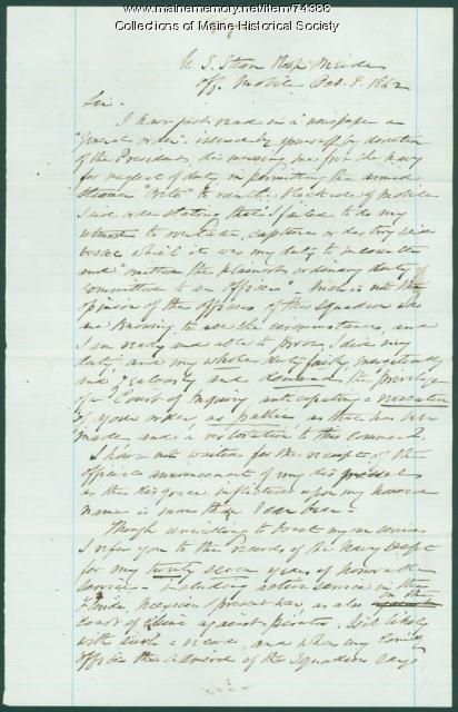 George Henry Preble plea for reinstatement, Mobile, AL, 1862