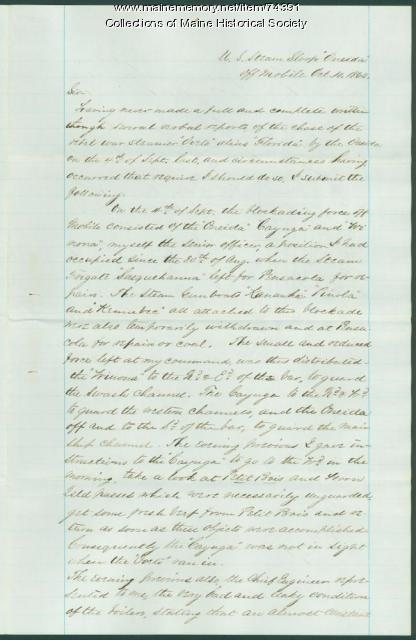 G. Henry Preble report on breach of blockade, 1862