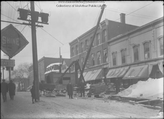 Sewer construction, Main Street, Biddeford, 1914-1915