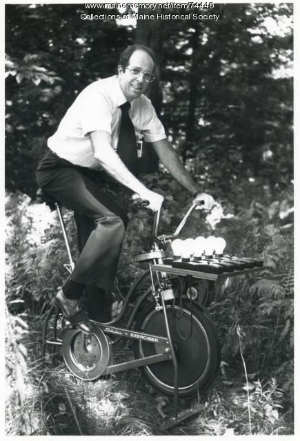 Human-powered generator, ca. 1975