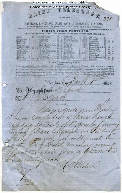 Hiram Alden telegram to F.O.J. Smith, 1853