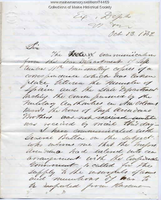 Gen. G.F. Shepley to Edwin Stanton on Spanish ship, New Orleans, 1862