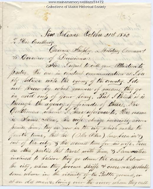 Letter to Gen. G.F. Shepley on 'enemies,' New Orleans, 1862