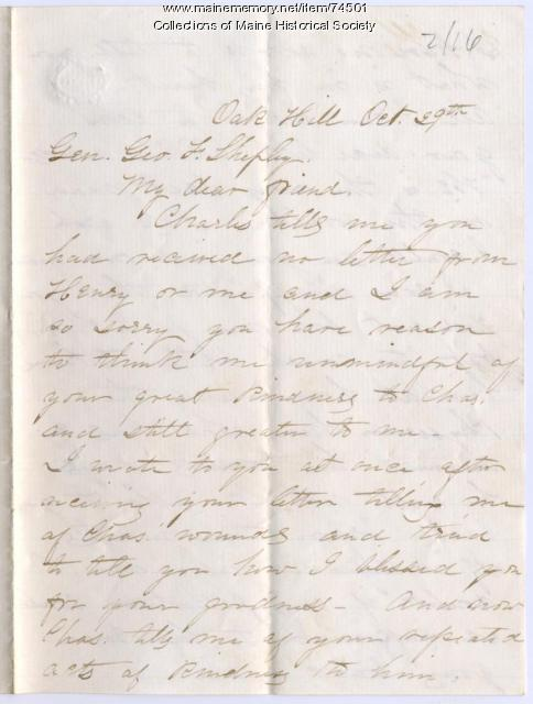 Annie Thornton to Gen. George F. Shepley, Scarborough, 1862