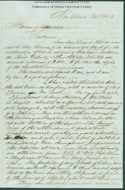 Recommendation to fund school for indigent black children, New Orleans, 1862