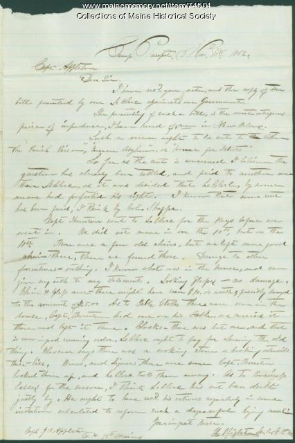 Lt. Hight to Capt. Appleton, Louisiana, 1862
