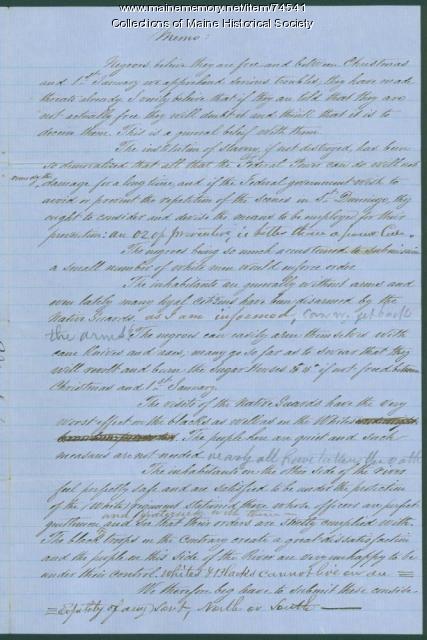 Warning to Gen. Shepley on slaves, New Orleans, 1862