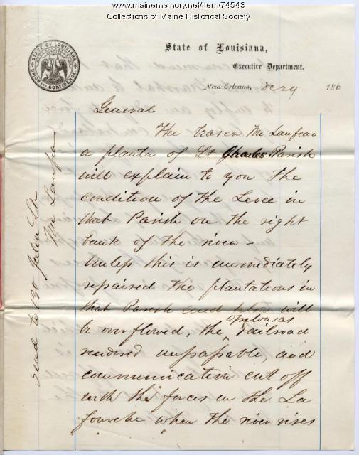Gen. G.F. Shepley on New Orleans levees, 1862
