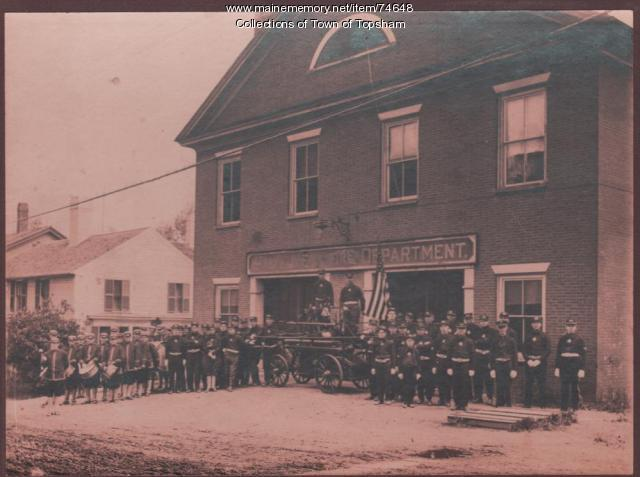 Hallowell Fire Department with the Tiger No. 4 hand engine, 1918