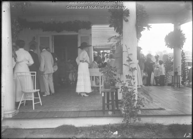 Attendees on porch at children's party at Biddeford Pool, 1917