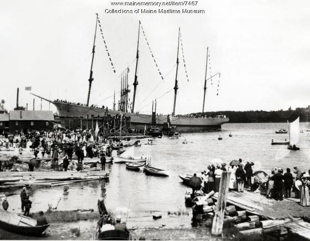 Launching of the four-mast bark ROANOKE, 1892