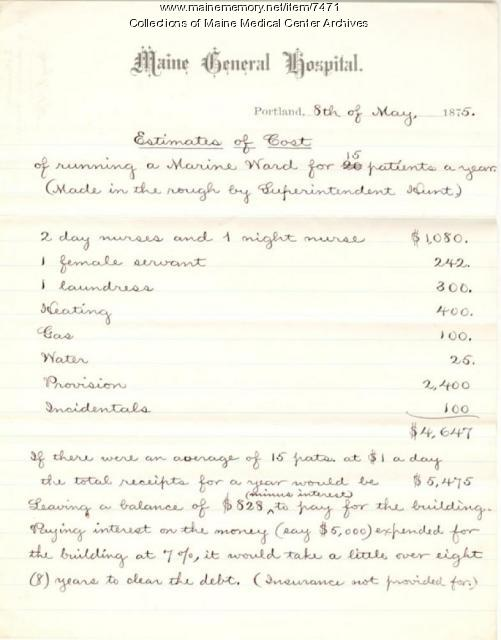 Cost estimate for patient charges, Portland, 1875