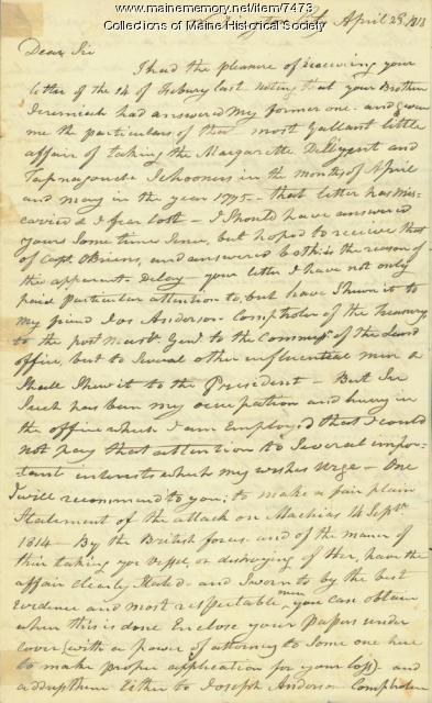 Letter recalling capture of Margaretta, Washington, D.C., 1818