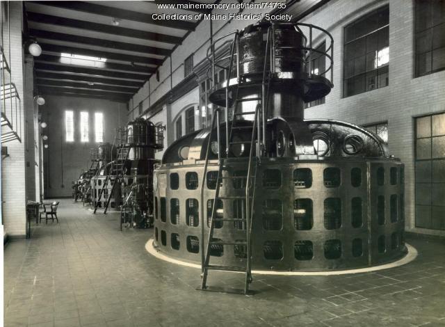 Interior of Gulf Island hydro station, ca. 1927