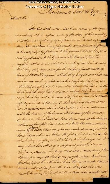 Letter from Thomas Goldthwaite to Gov. Hutchinson