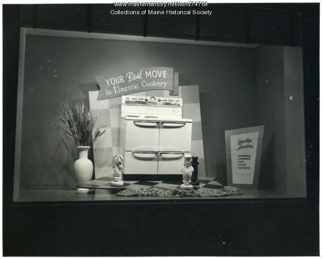 Electric cookery display window, ca. 1940