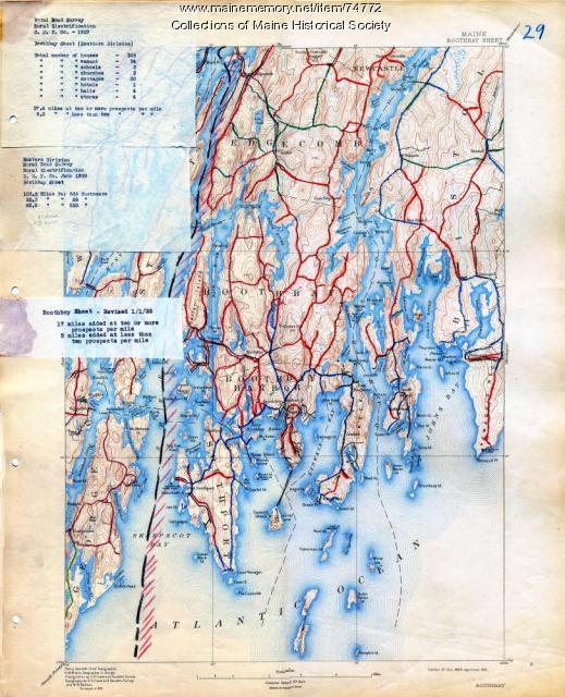 Electric rural road survey, Boothbay, 1929