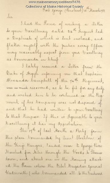 John Campbell to Henry Clinton about capture of Peleg Wadsworth