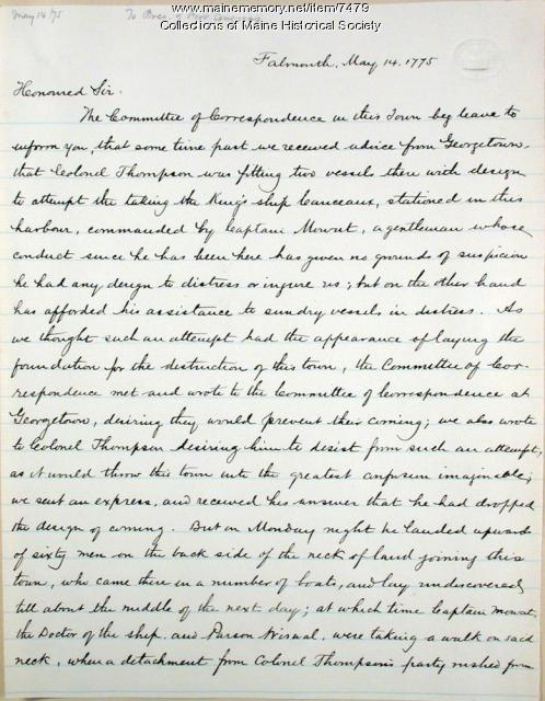 Jedediah Preble letter on Mowat kidnapping, 1775