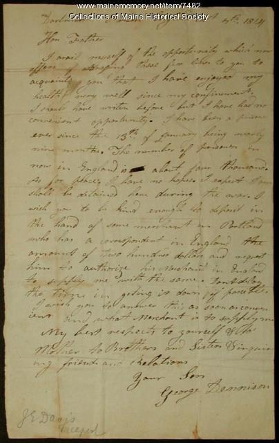 George Dennison letter, war prisoner, 1814