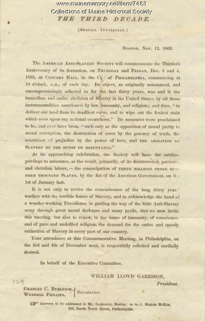 Invitation to American Anti-Slavery Society anniversary, 1863