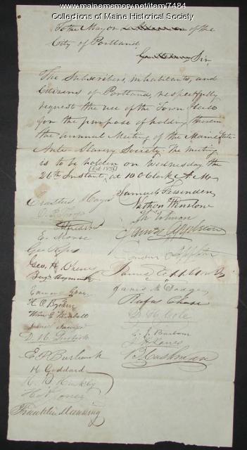 Maine Anti-Slavery Society request, 1836