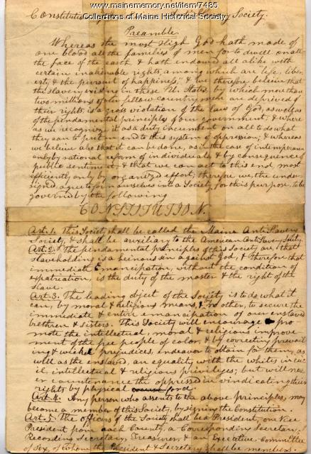 Maine Anti-Slavery Society constitution, ca. 1833