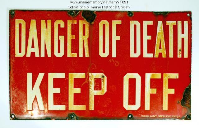 Electrical 'danger' sign, ca. 1930