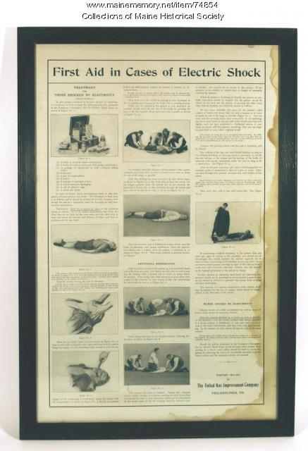 Electric shock first-aid poster, ca. 1910