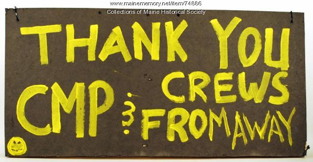 Sign thanking utility crews, 1998