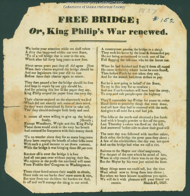 Free Bridge Broadside, Portland, 1837