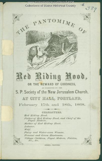 'Red Riding Hood' morality tale, Portland, 1868