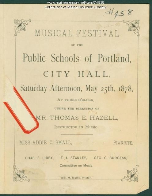 School music festival program, Portland, 1878