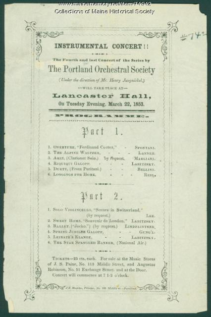 Portland Orchestral Society concert notice, 1853