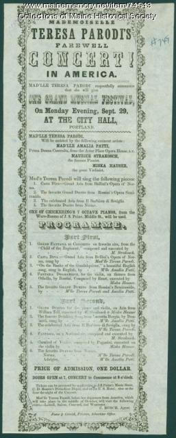 Teresa Parodi concert poster, Portland, ca. 1851