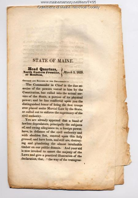 Orders for troops to northern Maine, 1839