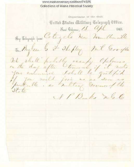 Nathaniel Banks telegram on Opelousas, 1863