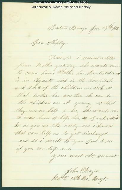 Soldier plea for discharge, Baton Rouge, 1863