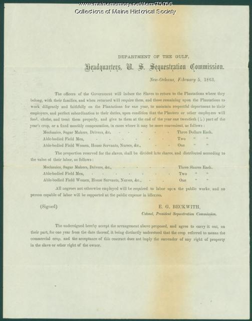 Agreement between planters, slaves, New Orleans, 1863