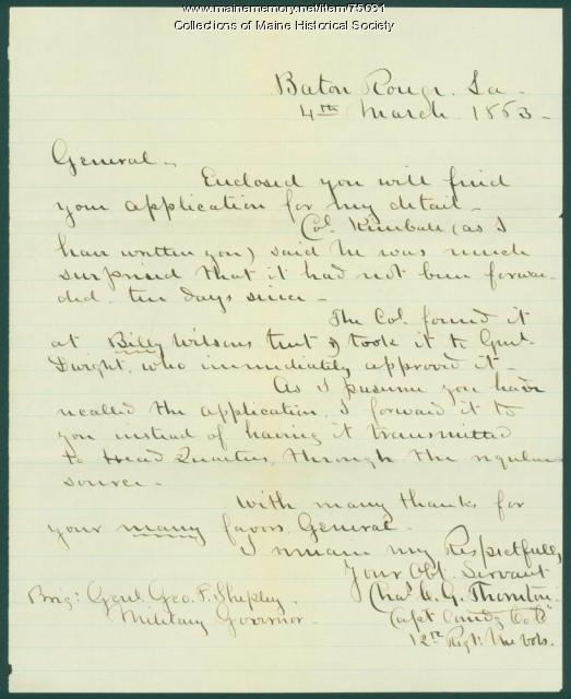 Capt. Thornton on application for assignment, Baton Rouge, 1863