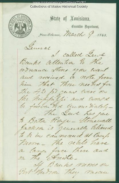 Gen. Shepley warning on Rebel attack, New Orleans, 1863
