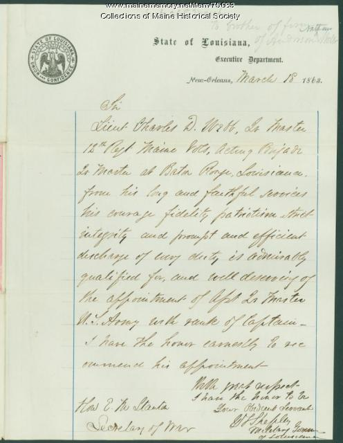 Gen. Shepley endorsement of Webb promotion, New Orleans, 1863