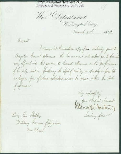 Secretary of War letter on black troops, 1863