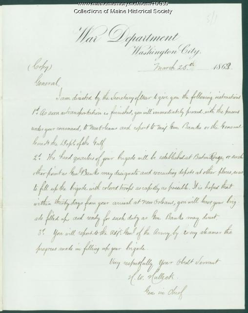 Copy of Gen. Halleck order on black troops, Washington, 1863