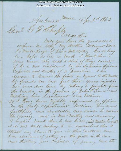 Inquiry about lack of soldier's promotion, Auburn, 1863