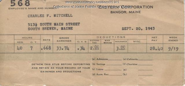 Eastern Fine pay stub, Brewer 1943